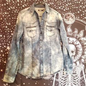 Cruel Acid Wash Jean Shirt